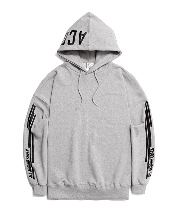 DOUBLE SIDE STRIPE GRAPHIC HOODIE GRAY