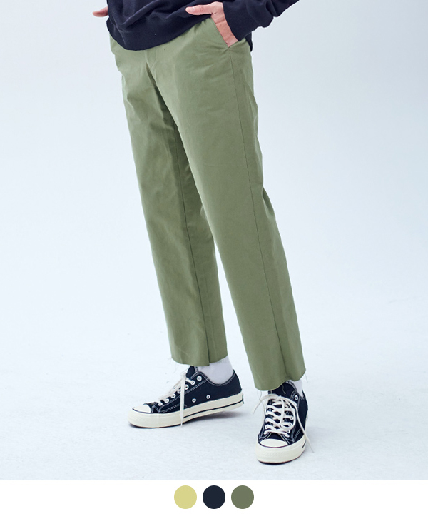 WIDE FIT CUTTING COTTON PANTS