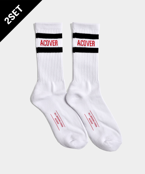 [2SET]UNISEX ACOVER STRIPE SOCKS