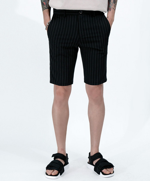 5부 Stripe Half Slacks