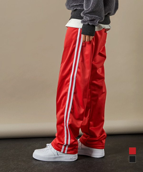 Twin Line Banding Track Pants Red