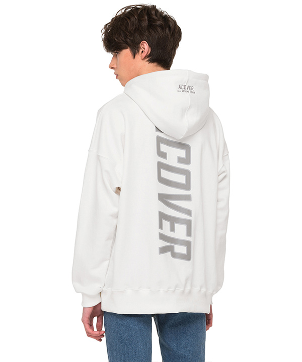 BACK SIDE REFLECTIVE HOODIE WHITE