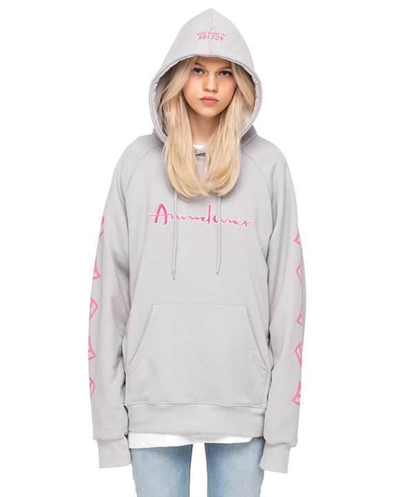DOUBLE SIDE A LOGO GRAPHIC HOODIE FOG GRAY