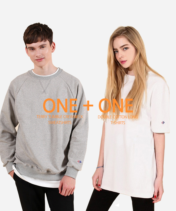 [1+1] Terry Tumble Crewneck Sweatshirts + Double Cotton Long T-Shirts