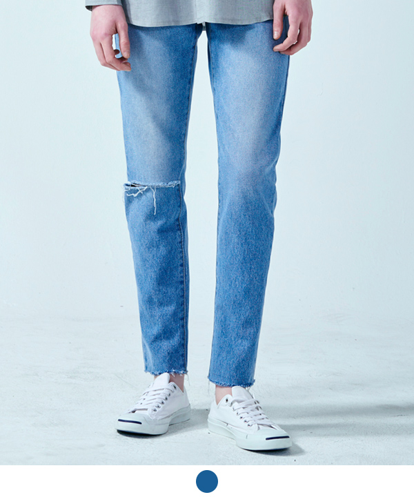 DAMAGE WASHED CUTTING JEANS
