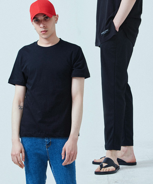 [1+1] PERFECT SLIM BANDING SLACKS + COOL BASIC T-SHIRTS