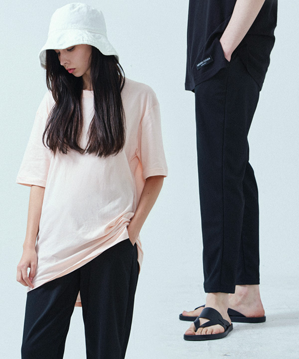 [1+1] PERFECT SLIM BANDING SLACKS + BASIC COOL SIDE-VENT T-SHIRTS