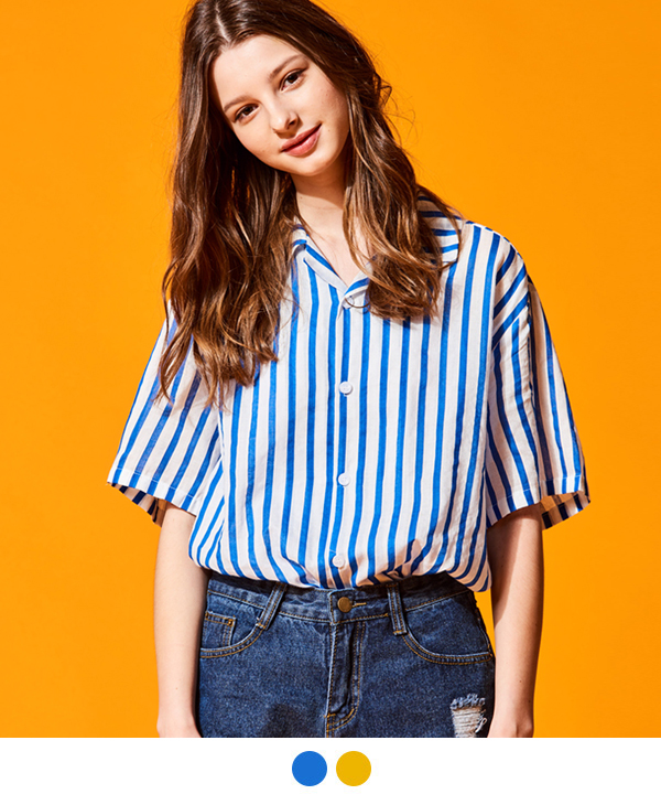 VERTICAL STRIPE OPEN COLLAR SHIRTS