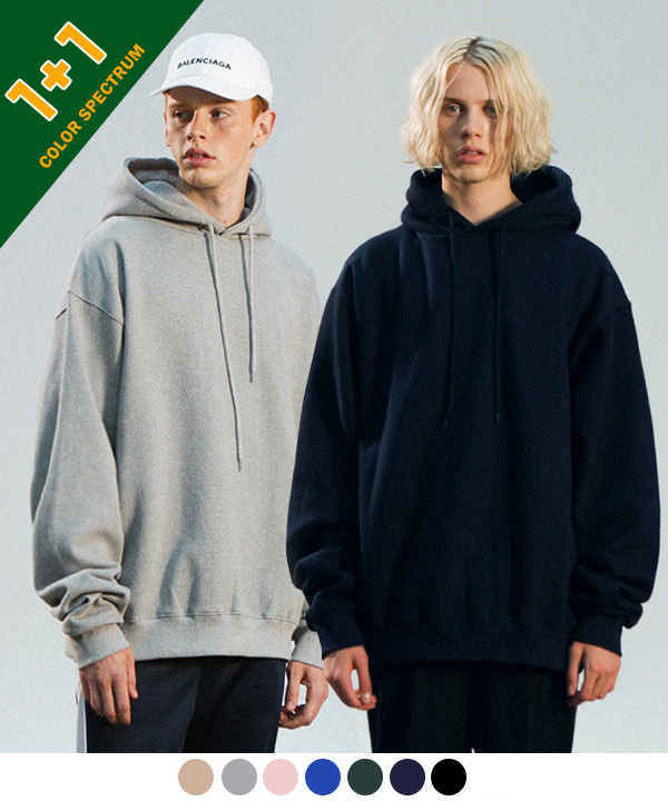 [11월24일 예약발송] [1+1][기모]1200g OVER TUMBLE NAPPING HOODIE