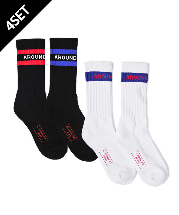 [4SET] DOUBLE LINE SOCKS + TWO TONE SOCKS