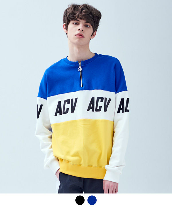 HALF ZIP UP ACV COLOR BLOCK SWEATSHIRT
